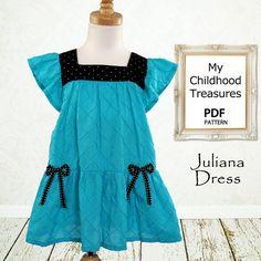 Sewing pattern pdf, Childrens sewing pattern, Baby sewing pattern, Girls Dress pattern, Instant download, The Juliana Dress via Etsy