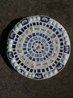 BLUE FLOWER Stepping Stone, Blue Flower Garden Path, Mosaic Stepping Stone. $19.00, via Etsy.