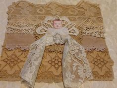 CANZICREATIONS OOAK MIXED MEDIA FABRIC COLLAGE LACE BOOK BABY WITH WINGS HALO