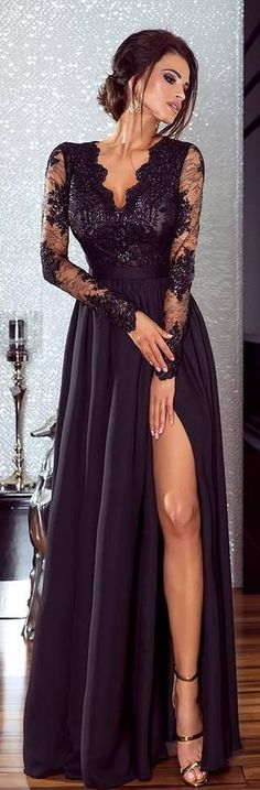 Sexy Side Slit Prom Dresses_Long Sleeves Chiffon A-line Evening Gowns