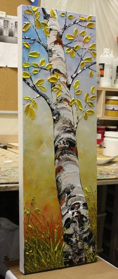 Birch Tree Painting by Nata S. Abstract Textured Vertical
