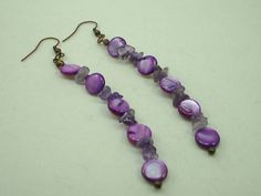 Shells and Amethyst Gemstones Earrings Designer Jewelry, Handcrafted Jewelry Design 2488MJ