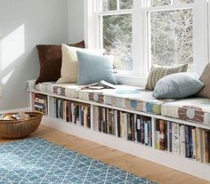 Book Storage Apartments or Small Spaces - love this bookshelf under the window seat! The window seat would make a great reading nook, too, especially with that lamp on the wall above . Interior Design Minimalist, Clean House Schedule, Interior Design Magazine, Home And Deco, Interior Design Living Room, Design Room, Small Spaces, Bedroom Decor, Bedroom Storage