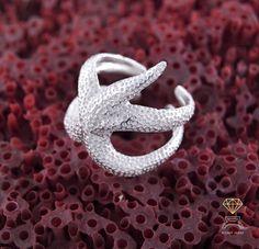 anillo estrella de mar. plata 925, sterling silver