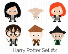 Harry Potter Clipart- Cho Chang, Dobby, Ginny Weasley, Harry Potter, Horace Slughorn, Minerva McGonagall, Instant Download, cute, funko pop