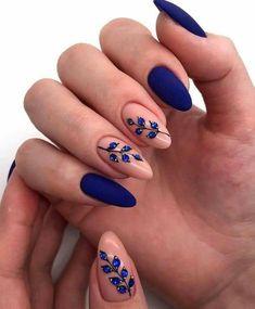 Matte Acrylic Nails, Acrylic Nail Designs, Nail Art Designs, Nails Design, Acrylic Art, Floral Designs, Acrylic Nails For Fall, Blue Matte Nails, Burgundy Nails