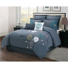 @Overstock.com - Florence 8-piece Comforter Set - This comforter set features the most magnificent shade of blue and most unique apliqu? embroidered flowers. The eight-piece set includes a comforter, bedskirt, two shams, two euro shams and two decorative pillows.  http://www.overstock.com/Bedding-Bath/Florence-8-piece-Comforter-Set/7499764/product.html?CID=214117 $89.99