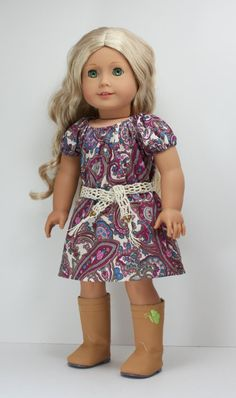 1970s Pasiley  American Girl style 18inch Doll Dress by WildFishy