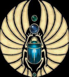 O escaravelho (cuja forma resulta do humilde besouro bosteiro) deu origem ao mais popular amuleto da sorte no antigo Egipto. O besouro era considerado sagrado porque imitava a passagem do Sol pelo céu, na sua luta heróica para empurrar bolinhas de excrementos contendo os seus ovos. A cria nascida destas bolas representava a nova vida emergindo da terra. Os amuletos em forma de escaravelho eram normalmente enterrados com os seus possuidores, como símbolos de regeneração.