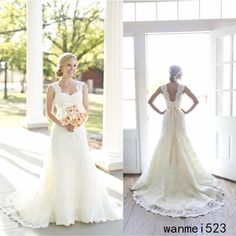 Vintage Ivory A-Line Lace Wedding Dresses Sweetheart Sash Open Back Bridal Gowns