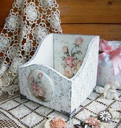 Купить Подставка короб для косметики Шебби Розы. Декупаж - белый, короб, короб декупаж, шебби