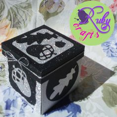 ACORN EXPLOSION BOX by Ruby Crafts #rubycrafts #rubycraftsandgiftsshop #acornexplosionbox #glitteryexplosionbox #black&silver #giftideas Birthday Invitations, Wedding Invitations, Explosion Box, Acorn, Christening, Black Silver, Decorative Boxes, Paper Crafts, Cards