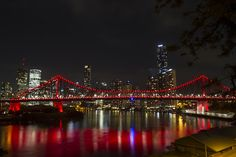 Brisbane, Queensland, Australia - The iconic Story Bridge bathed in red to represent the Daniel Morecombe Foundation a group very near and dear to most Queenslanders and Australians. #nightphotography