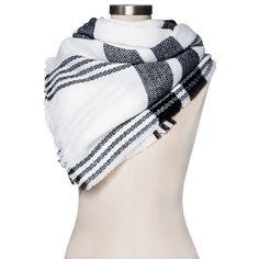 Women's Blanket Scarf White/Black Plaid - Merona