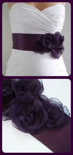 Wedding dress-purple sash with a bow tied around the back.