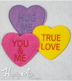 Conversation Candy Hearts Feltie Embroidery Designs