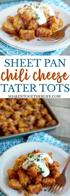 Sheet Pan Chili Cheese Tater Tots are classic comfort food that is perfect for your game day spread! Load them up with your favorite toppings for a touch down snack!