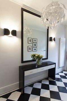 Elegancki korytarz, przedpokój, biało-czarny, kafelki, elegancki korytarz…