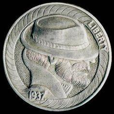 Steve Cox - Bearded Man Wearing Hat Hobo Nickel, Buffalo, Cactus, Auction, Hat, Chip Hat, Water Buffalo, Hats, Hipster Hat