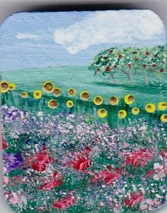 FLOWER HILL  Original Painting on Wood  MINIATURE  by Majo  $20.00