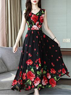 V Neck Floral Printed Maxi Dress - Cheap Dresses Polka Dot Maxi Dresses, Cheap Maxi Dresses, Cheap Dresses Online, Girls Dresses, Floral Dresses, Dress Online, Floral Maxi, Rent Dresses, Style Africain