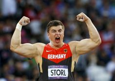 David Storl of Germany shows his emotion as he competes in the Men's Shot Put Final on Day 7 of the London 2012 Olympic Games at Olympic Stadium.