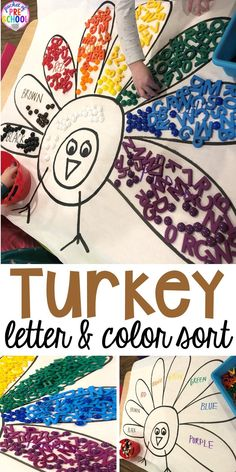 Turkey letter sort and turkey color sort using letter magnets and color counters. This activity is perfect for preschool, pre-k, and kindergarten kiddos. #turkeytheme #lettergame #letteractivity #preschool #prek Fall Preschool Activities, Preschool Math, Hands On Activities, Children Activities, Sorting Activities, Kindergarten, Thanksgiving Games For Kids, Thanksgiving Crafts, Fall Crafts