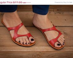SALE 20% OFF, Red Leather Sandals, Red Sandals, Asymmetric Sandals, Summer Shoes, Flipflops, Flat Sandals