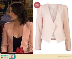 Robin's nude/peach blazer on How I Met Your Mother.  Outfit Details: https://wornontv.net/9794/ #HIMYM
