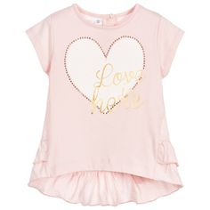 iDo Baby - Baby Girls Pink Cotton Top with Heart Print | Childrensalon