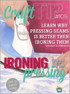 """Craft Tips: Pressing vs Ironing Watch Amy Chappell from Ameroonie Designs as she shares why """"pressing"""" your seams is better then """"ironing"""" them on your sewn projects."""
