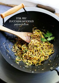 Stir Fry Zucchini Noodles - Delicious, low-carb, healthy Stir Fry made with spiralized zucchini and onions tossed with teriyaki sauce and toasted sesame seeds.
