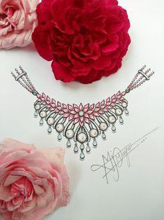 Fancy Jewellery, Latest Jewellery, Fantasy Jewelry, Jewelry Art, Big Rangoli Designs, Hand Painted Sarees, Jewelry Design Drawing, Jewellery Sketches, Fashion Design Sketches