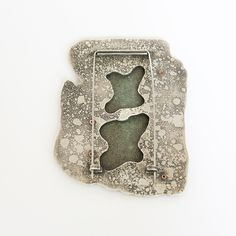 Traces brooch (back) Etched Sterling silver with enamelled copper. © 2015 Amanda Denison Contemporary Jewellery