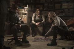 Official still image of Josh Hutcherson as Peeta Mellark, Jennifer Lawrence as Katniss Everdeen and Natalie Dormer as Cressida in #TheHungerGames #MockingjayPart2