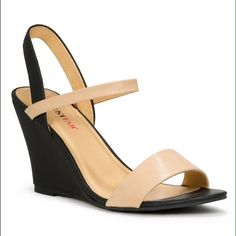 HP!*Black & Nude Wedges Host Picked on 8/19! A very basic but trendy shoe. Nude shoes are staples every girl's closet needs. Selling them because they aren't my size :(. BRAND NEW! Never worn. Bought for $49.99 plus tax. JustFab Shoes