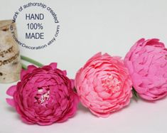 Paper Flowers, Paper Flower Bouquet, Paper Flowers Wedding, Wedding Paper Flowers, Crepe Paper Flowers, Wedding Paper Peonies, Purple Peonies. NOTE!!! ITS CRAZY BUSY SEASON NOW! SO DONT BUY ANYTHING BEFORE CONTACTING ME AND CLARIFYING SHIPPING TERMS!  THIS LISTING is for - 10 Paper Flowers - CREPE PAPER PEONIES, they are 3-3,5 inch in diameter each one, with thick stem. Made from high quality crepe paper. Every flower made by me with love!  Various paper flowers with lots of options look…
