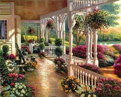 Country Porch & Garden Scene.  jj