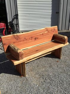Large rustic cedar bench with back