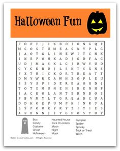 Crayon Freckles: Free Halloween Word Search for Kids {free printable}