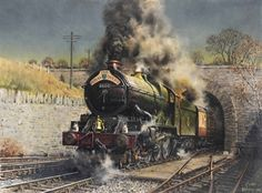 Terence Cuneo The Royal Duchy: King George V storms up the grade out of Dainton Tunnel Train Posters, Railway Posters, Steam Art, Steam Railway, Abandoned Train, Train Art, Train Pictures, Train Tickets, Model Train Layouts