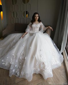 A Line Tulle Off Shoulders Wedding Dresses With Lace Flowers Short Sleeves Long Sweep Train Bridal Gowns Summer Beach Garden Wear Dubai Wedding Dress, Fairy Wedding Dress, Sheer Wedding Dress, Muslim Wedding Dresses, Wedding Dress Train, Sweetheart Wedding Dress, Bridal Dresses, Wedding Gowns, Little Girls White Dress
