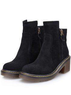 Botas chunky heel cremallera redondo -negro 44.22
