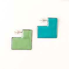 'Enfold' earrings - square Turquoise & green (double sided so that the same colour faces outwards) vitreous enamel, copper & sterling Silver Vitreous Enamel, Square Earrings, Cufflinks, Copper, Faces, Victoria, Turquoise, Jewellery, Sterling Silver