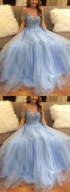 Light blue tulle long prom dress, blue evening dress