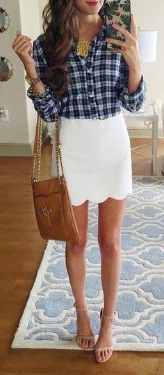 #summer #outfits / plaid shirt + skirt