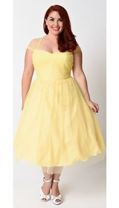 Unique Vintage Plus Size Yellow & White Swiss Dot Garden State Mesh Dress Plus Size Cocktail Dresses, Long Cocktail Dress, Plus Size Dresses, Plus Size Outfits, Plus Size Vintage Clothing, Plus Size Clothing Sale, Jackie Kennedy, Fabulous Dresses, Pretty Dresses