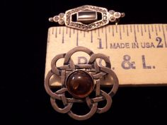 VINTAGE STERLING SILVER 2 LOT SMALL BROOCHES PINS ONYX MARCASITE