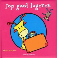 Giraffe Jop gaat bij zijn opa en oma logeren. Wat neemt Jop mee in zijn koffer? Vierkant prentenboek met een beeldverhaal met pictogrammen en een vraag-en-antwoordspel met gestileerde illustraties in kleur. Vanaf ca. 3 jaar.