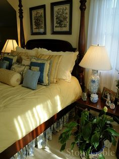 Love the toile bed skirt.